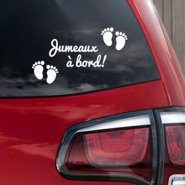 Sticker Jumeaux à bord - stickers bébé à bord & autocollant voiture - stickmycar.fr
