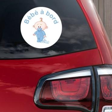 Sticker Bébé à bord garçon peluche - stickers bébé à bord & stickers auto - stickmycar.fr