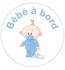 Sticker Bébé à bord garçon peluche