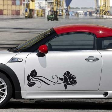 Sticker Rose allongée - stickers fleurs & autocollant voiture - stickmycar.fr