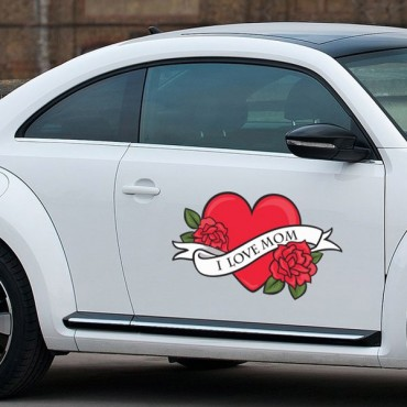 Sticker I love mom - stickers coeur & autocollant voiture - stickmycar.fr