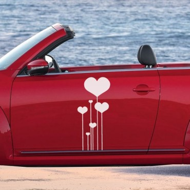 Sticker Fleurs coeurs - stickers coeur & stickers auto - stickmycar.fr