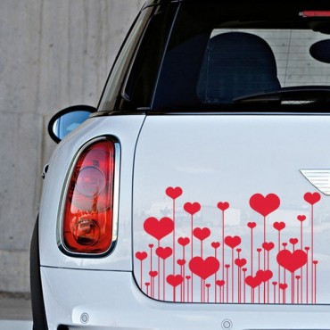 Sticker Champ fleurs coeurs - stickers coeur & stickers auto - stickmycar.fr