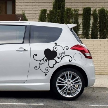 Sticker Arabesque coeurs - stickers coeur & autocollant voiture - stickmycar.fr