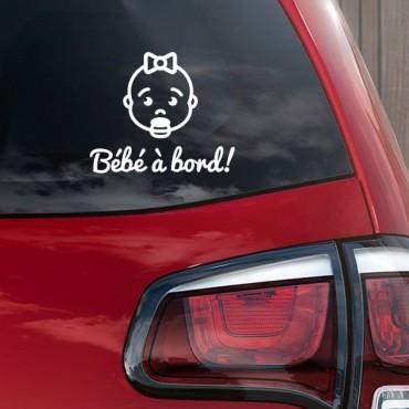 Sticker Bébé à bord visage fille - stickers bébé à bord & stickers auto - stickmycar.fr
