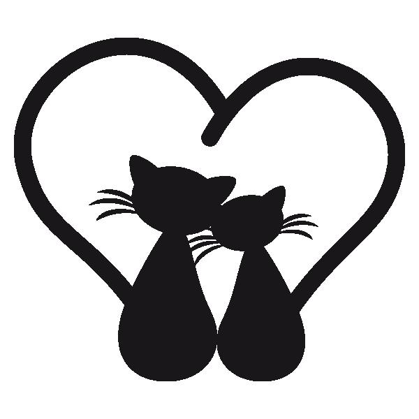 Sticker Chats amoureux , stickers animaux  autocollant voiture , stickmycar.fr