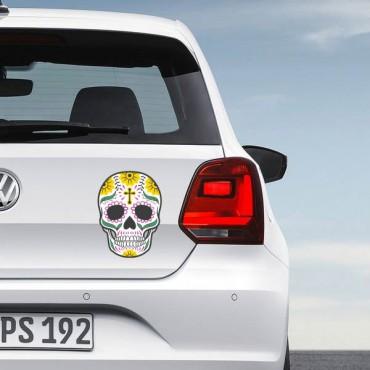 Sticker Crane coloré croix - stickers tête de mort & autocollant voiture - stickmycar.fr