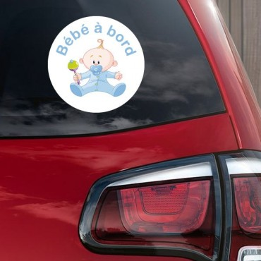 Sticker Bébé à bord garçon hochet - stickers bébé à bord & autocollant voiture - stickmycar.fr