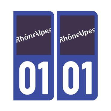Sticker plaque Ain 01 - Pack de 2 - auvergne-rhône-alpes & stickers auto - stickmycar.fr