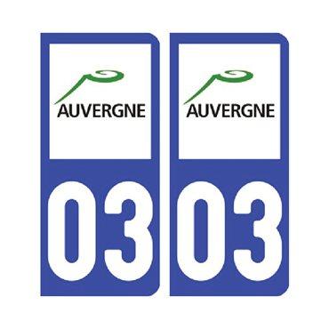 Sticker plaque Allier 03 - Pack de 2 - auvergne-rhône-alpes & stickers auto - stickmycar.fr