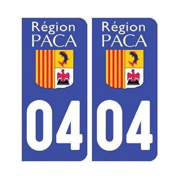 Sticker plaque Alpes de Hautes-Provence 04 - Pack de 2 - stickers plaque d'immatriculation & autocollant voiture - stickmycar.fr