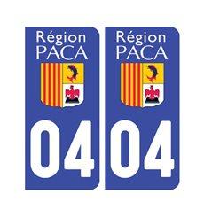 Sticker plaque Alpes de Hautes-Provence 04 - Pack de 2