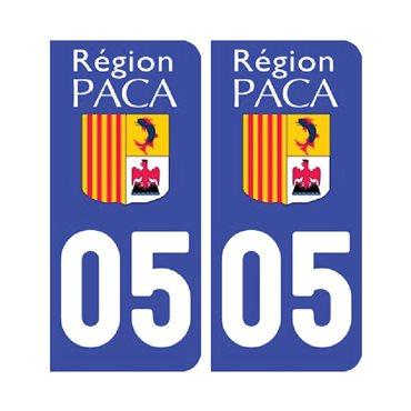 Sticker plaque Hautes-Alpes 05 - Pack de 2 - stickers plaque d'immatriculation & stickers auto - stickmycar.fr