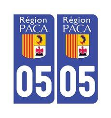 Sticker plaque Hautes-Alpes 05 - Pack de 2