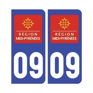 Sticker plaque Ariège 09 - Pack de 2 - languedoc-roussillon-midi-pyrénées & stickers auto - stickmycar.fr
