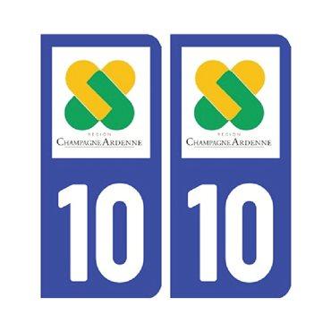 Sticker plaque Aube 10 - Pack de 2 - alsace-champagne-ardenne-lorraine & autocollant voiture - stickmycar.fr