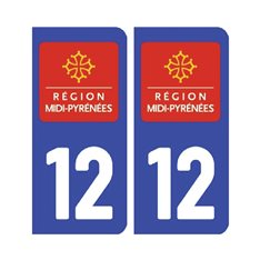 Sticker plaque Aveyron 12 - Pack de 2
