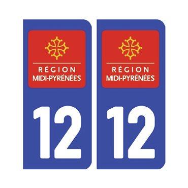Sticker plaque Aveyron 12 - Pack de 2 - languedoc-roussillon-midi-pyrénées & autocollant voiture - stickmycar.fr