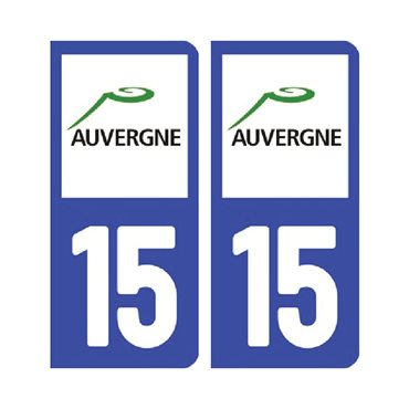 Sticker plaque Cantal 15 - Pack de 2 - auvergne-rhône-alpes & stickers auto - stickmycar.fr