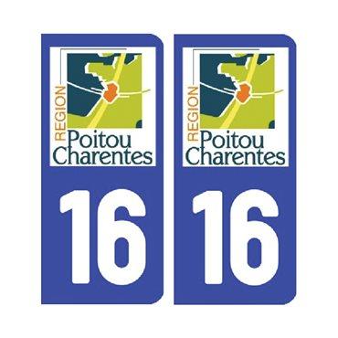 Sticker plaque Charente 16 - Pack de 2 - aquitaine-limousin-poitou-charentes & autocollant voiture - stickmycar.fr