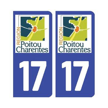 Sticker plaque Charente-Maritime 17 - Pack de 2 - aquitaine-limousin-poitou-charentes & stickers auto - stickmycar.fr