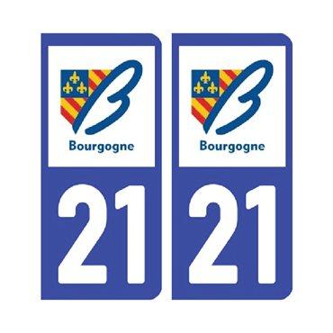 Sticker plaque Côte-d'Or 21 - Pack de 2 - bourgogne-franche-comté & autocollant voiture - stickmycar.fr