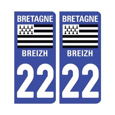 Sticker plaque Côtes d'Armor 22 - Pack de 2 - bretagne & stickers auto - stickmycar.fr