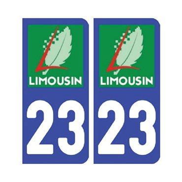 Sticker plaque Creuse 23 - Pack de 2 - aquitaine-limousin-poitou-charentes & autocollant voiture - stickmycar.fr