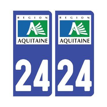 Sticker plaque Dordogne 24 - Pack de 2 - aquitaine-limousin-poitou-charentes & stickers auto - stickmycar.fr