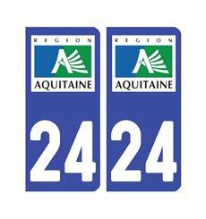 Sticker plaque Dordogne 24 - Pack de 2