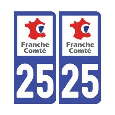 Sticker plaque Doubs 25 - Pack de 2 - bourgogne-franche-comté & autocollant voiture - stickmycar.fr