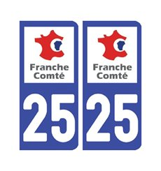 Sticker plaque Doubs 25 - Pack de 2