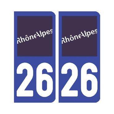 Sticker plaque Drôme 26 - Pack de 2 - auvergne-rhône-alpes & stickers auto - stickmycar.fr