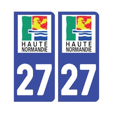 Sticker plaque Eure 27 - Pack de 2 - normandie & autocollant voiture - stickmycar.fr