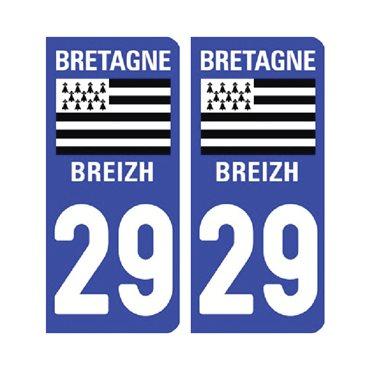 Sticker plaque Finistère 29 - Pack de 2 - bretagne & autocollant voiture - stickmycar.fr
