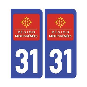Sticker plaque Haute-Garonne 31 - Pack de 2 - languedoc-roussillon-midi-pyrénées & autocollant voiture - stickmycar.fr