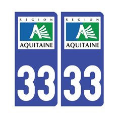 Sticker plaque Gironde 33 - Pack de 2