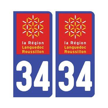 Sticker plaque Hérault 34 - Pack de 2 - languedoc-roussillon-midi-pyrénées & stickers auto - stickmycar.fr