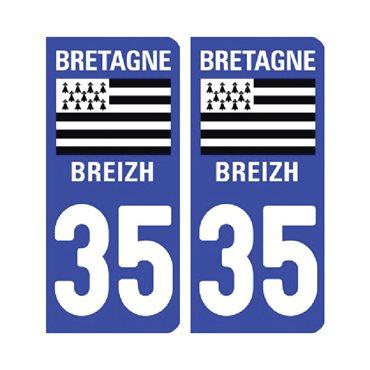 Sticker plaque Ille-et-Vilaine 35 - Pack de 2 - bretagne & autocollant voiture - stickmycar.fr
