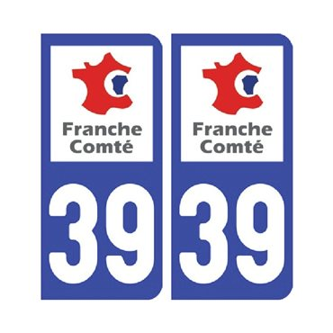 Sticker plaque Jura 39 - Pack de 2 - bourgogne-franche-comté & autocollant voiture - stickmycar.fr