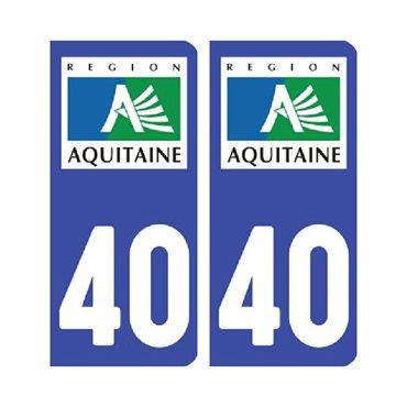 Sticker plaque Landes 40 - Pack de 2 - aquitaine-limousin-poitou-charentes & stickers auto - stickmycar.fr