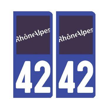 Sticker plaque Loire 42 - Pack de 2 - auvergne-rhône-alpes & stickers auto - stickmycar.fr
