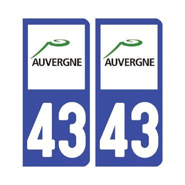 Sticker plaque Haute-Loire 43 - Pack de 2 - auvergne-rhône-alpes & autocollant voiture - stickmycar.fr