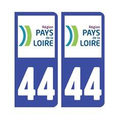 Sticker plaque Loire-Atlantique 44 - Pack de 2