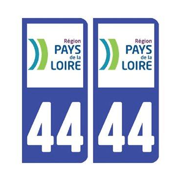 Sticker plaque Loire-Atlantique 44 - Pack de 2 - pays de la loire & stickers auto - stickmycar.fr