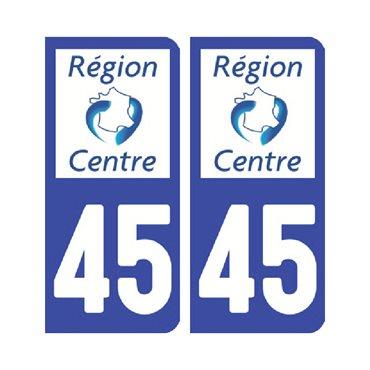 Sticker plaque Loiret 45 - Pack de 2 - centre-val de loire & autocollant voiture - stickmycar.fr