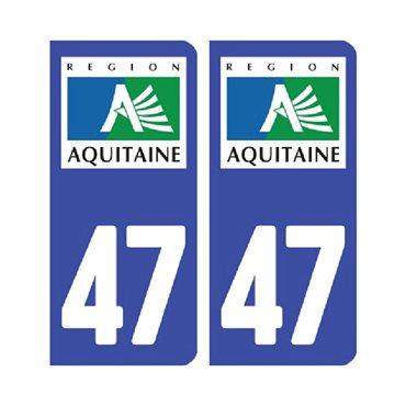 Sticker plaque Lot-et-Garonne 47 - Pack de 2 - aquitaine-limousin-poitou-charentes & autocollant voiture - stickmycar.fr