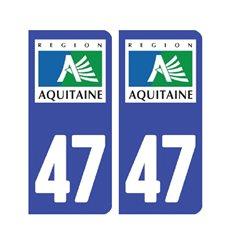 Sticker plaque Lot-et-Garonne 47 - Pack de 2