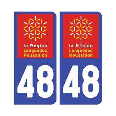 Sticker plaque Lozère 48 - Pack de 2 - languedoc-roussillon-midi-pyrénées & stickers auto - stickmycar.fr