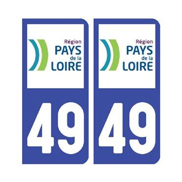 Sticker plaque Maine-et-Loire 49 - Pack de 2 - pays de la loire & autocollant voiture - stickmycar.fr